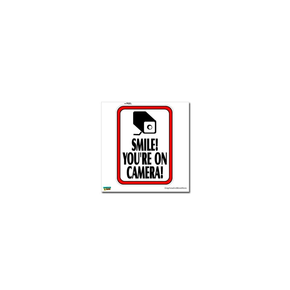 Smile Youre On Camera Video Surveillance   Business Sign   Window Wall Sticker