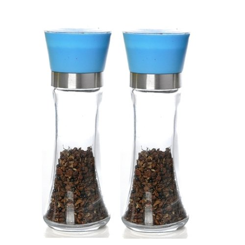 Glass Pepper and Salt Grinder with Ceramic grinding mechanism, 8 IN (Blue), Set of Two