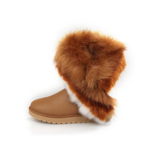 Charm Foot Faux-fur Womens Low Heel High Top Snow Boots Winter Boots