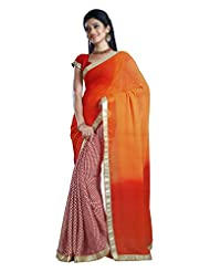 Faux Georgette Saree In Maroon Colour For Casual Wear