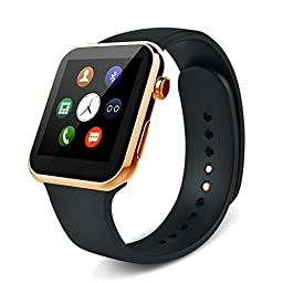 Sudroid Smart Watch for Iphone and Android Heart Rate Monitor Smart Watches with 4-Port Hub(Gold)