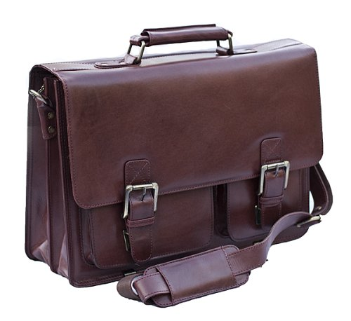 Brown Leather Briefcase Business Satchel - From Prime Hide