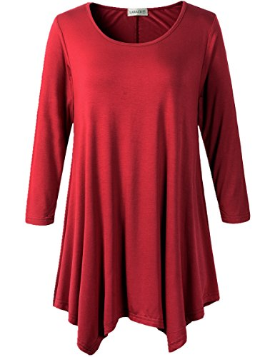 Lanmo Women Plus Size 3/4 Sleeve Tunic Tops Loose Basic Shirt (1X, Wine Red) (Red Shirts Women compare prices)