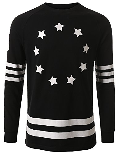 J.Tomson Mens Hip Hop Star Graphic Print Pullover Sweatshirt Black Medium