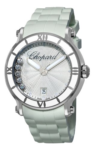 Chopard Women's 288525-3002 Happy Sport Round White Waved Dial Watch