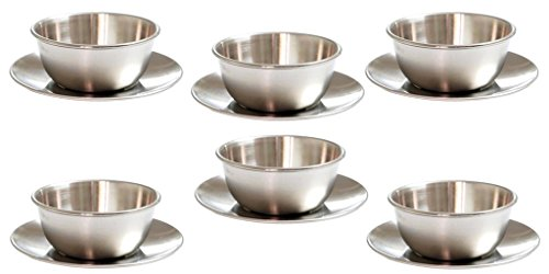 Stainless Steel Matte Finish Soup Bowl Set With Saucer(6 Sets)