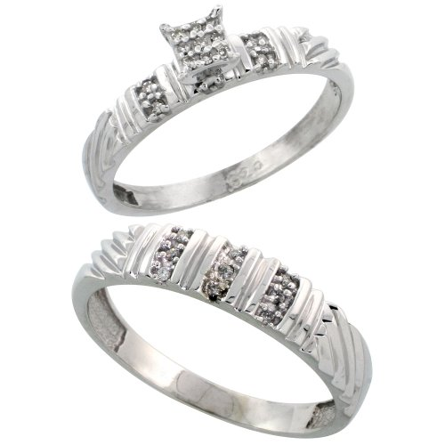 Sterling Silver Diamond Engagement Rings Set for Men and Women 2-Piece 0.11 cttw Brilliant Cut, 3.5mm & 5mm wide, Size 9