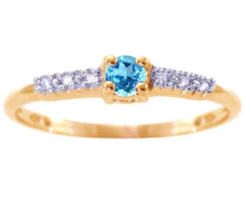 14K Yellow Gold Petite Round Gemstone and Diamond Promise Ring-Swiss Blue Topaz, size6.5