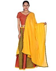 Rajrang Women's Cotton Lehenga Choli Dress Red Printed With Patchwork