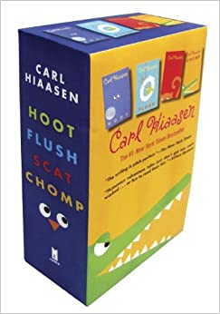 hiaasen 4 book trade paperback box set chomp flush hoot scat carl hiaasen 9780385371940. Black Bedroom Furniture Sets. Home Design Ideas