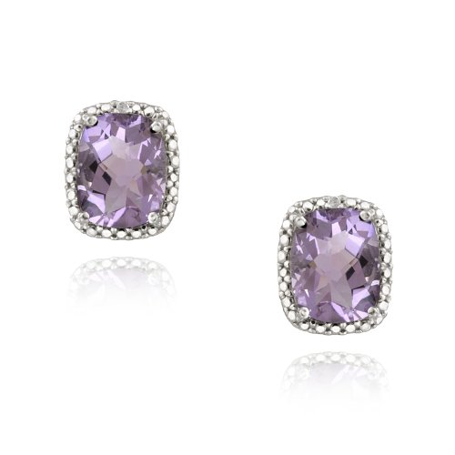 Sterling Silver 4ct Amethyst & Diamond Accent Cushion Cut Earrings