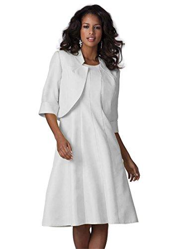 Roamans Women's Plus Size Full Bottom Fit And Flare Jacket Dress White,16