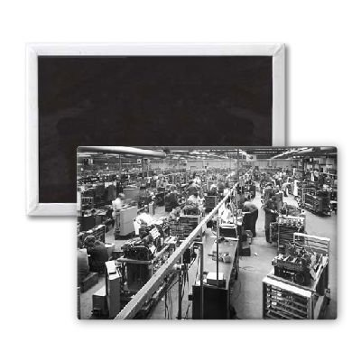The factory floor of an electronics manufacturer - 3x2 inch Fridge Magnet - large magnetic button - Magnet