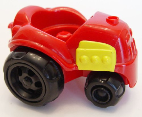 Fisher Price 2001 Little People Red Tractor with Black Wheels - 1