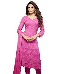 Rudra Fab Pink Karachi work semi stitched salwar suit dress material