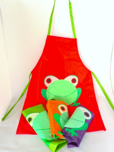 Children's Waterproof Painting Cooking Apron Boys & Girls Kids Toddlers Fun - Bold Discount (Red)