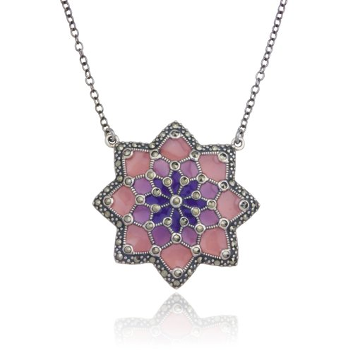 Sterling Silver Marcasite and Purple Epoxy Flower Necklace