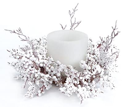 Artificial Snow & White Christmas Berries 16-inch Pillar Candle Centerpieces - Set of 4 by Melrose