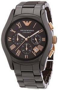 Emporio Armani AR1446 - Reloj cronógrafo de cuarzo para hombre, correa de cerámica color marrón