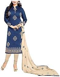 Airboyz Women's Art Silk Unstitched Dress Material (Blue)