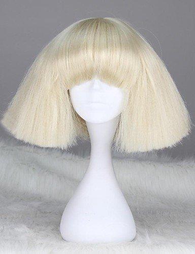 Parrucche europei moda capelli Lady Gaga Style senza cappuccio di modo breve rettilineo parrucca bionda sintetico