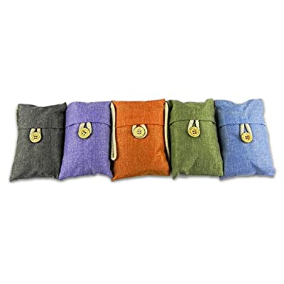 Purify Bamboo Charcoal - Most Effective Natural Deodorizer Bag to Remove Odor Bacteria Allergen Moisture for Kitchen Car Closet Basement Bathroom | Set of 5 pcs | Orange Blue Grey Green Purple | 902.1
