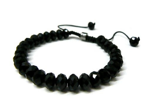 "Black Shamballa 6mm Glass ""Diamond Cut"" Bracelet"