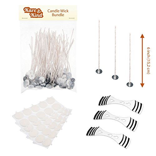 Candle Wick Bundle: 50 Candle Wicks, 50 Stickers and 3 Wick Holders - Easy Positioning - Wicks Coated With Natural Soy Wax, Cotton Threads Woven with Paper - Contains No Lead, Zinc or Other Metals (Starter Wicking compare prices)