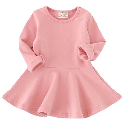 EGELEXY Baby Girls' Long Sleeve Cotton Ruffle Top Dress 12-18Months Pink