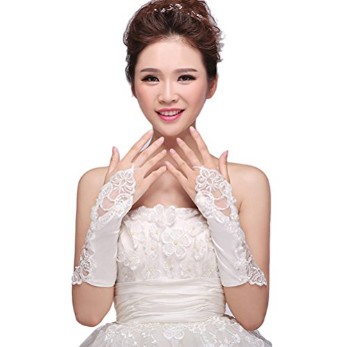 BEAUTBRIDE Women's 2015 Fingerless Stretch Satin Bridal Wedding Gloves with Beads, Off-White