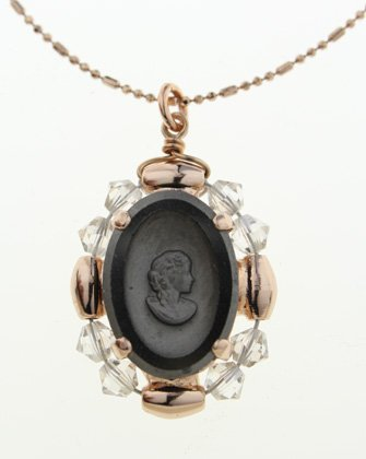 Israeli Amaro Jewelry Studio 'Release' Collection 24K Rose Gold Plated Chain with Cameo Carved in Hematite Surrounded by Clear Beads Medallion