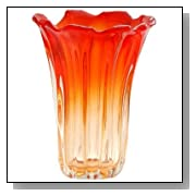 Ecco!Murano Hand Blown Large Stylish Vase Amber