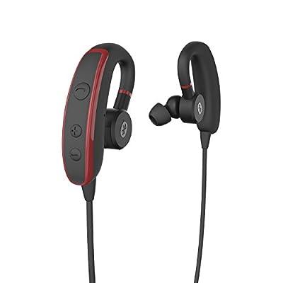 GranVela® S380 V4.1 Bluetooth Lightweight Wireless Stereo Earphones Sports & Gym/Exercise Headphones (Hands-Free Calling & Balanced Audio & Built-in Mic/APTX & CVC 6.0 Noise Cancelling) -Red