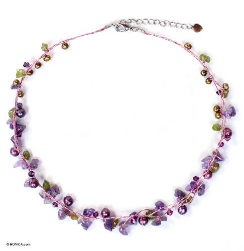 Tropical Elite Pearl and Amethyst Strand Necklace