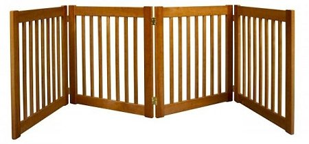 Dynamic Accents Four Panel Small Indoor Wooden Ez Pet Gate, 27 Inch Tall - Artisan Bronze