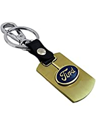 Techpro Premium Quality Gold Colour Metal Keychain With Ford Design