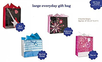 All Occasion Birthday Party Gift Bags Set of 4 Large Birthday Gift Bags W/ Guitar, Flowers, Hearts, Tags, and Tissue Paper for Kids, Men, Women, Boys, Girls