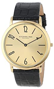 Stuhrling Original Men's 140.333531 Classic Ascot II Swiss Quartz Slim Gold Tone Watch