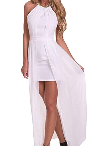 Zkess Women's Sleeveless Evening Gown Long Dress Medium Size White