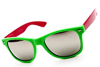 Wayfarer Retro Revo-lens Mirrored Sunglasses W1000 W100 (w1nm green/pink-silver, mirrored)