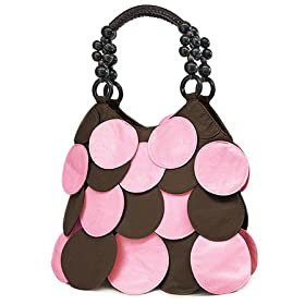 Designer Style Brown Pink Circle Overlay Handbag Bag Purse