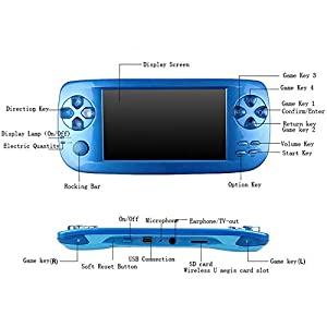 Handheld Game Console , Portable Video Game Console 4.3 Inch 3000 Classic Retro Game Console Pap-KIII , Support GBA / GBC / GB / SEGA / NES / SFC / NEOGEO - Blue (Color: Blue)
