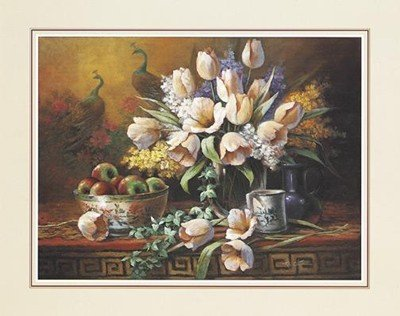 Tulips With Peacock Fresco Finest LAMINATED Print T.C. Chiu 14x11