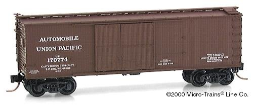 Micro Trains N 41010: 40' Double-Sheathed Wood Box Car,1-1/2 Door with Vertical Brake Wheel, Union Pacific UP#170774