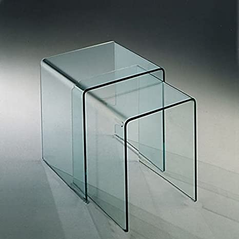 Set 2 curved glass coffee tables Memphis made in italy - living room, bis, hall