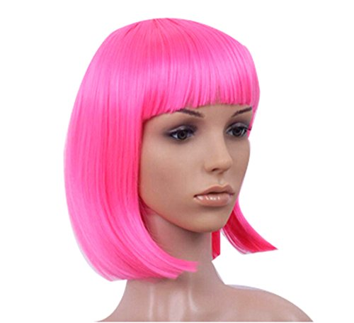 Fashion Popular Childrens' Halloween Party Props Color Short Wig-rose Red