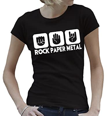 Touchlines Damen Girlie T-Shirt Stein Papier Rock Heavy Metal