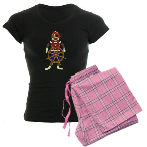 CafePress Sock Monkey Pirate Women's Dark Pajamas Women's Dark Pajamas