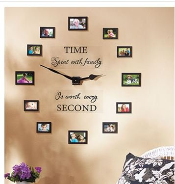 Sentiment-Photo-Wall-Clock-Decal-and-Picture-Frames-Kit-Time-Spent-with-Family-Is-Worth-Every-Second