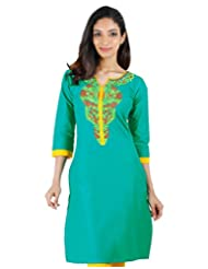 Tropical Green Cotton Kurta From ESTYLe With Embroidered Yoke